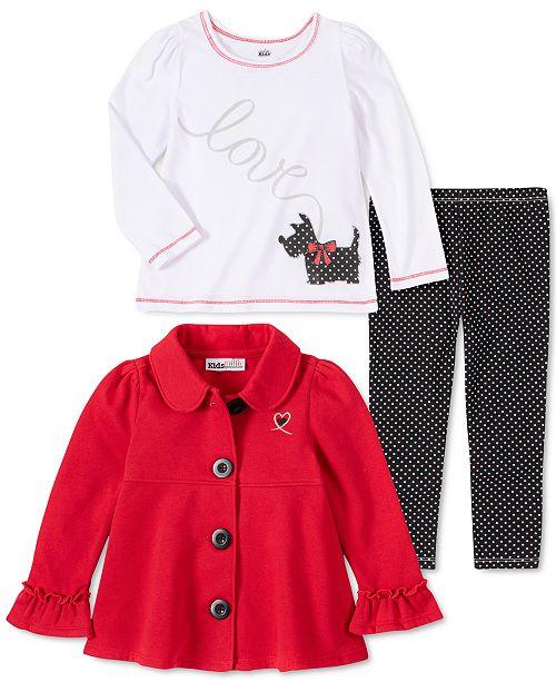 Kids Headquarters Baby Girls 3-Pc. Fleece Jacket, Long-Sleeve T-Shirt & Leggings Set