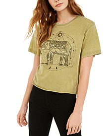 Juniors' Elephant Metallic Cropped Graphic T-Shirt