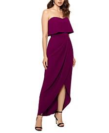 Strapless Tulip-Skirt Gown