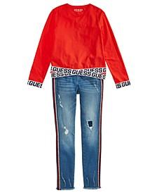 Big Girls Logo-Tape Shirt & Glitter-Striped Ripped Skinny Jeans