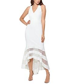 Illusion-Stripe Mermaid Gown