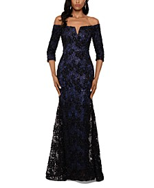 Floral-Lace Off-The-Shoulder Gown