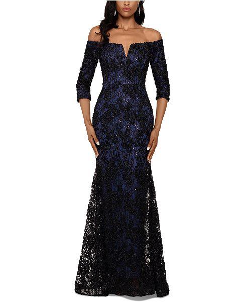 XSCAPE Floral-Lace Off-The-Shoulder Gown