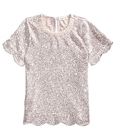 Big Girls Scalloped Sequined Shirt