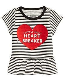 Baby Girls Striped Heartbreaker-Print Cotton T-Shirt, Created For Macy's