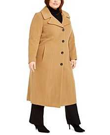 Plus Size Single-Breasted Maxi Coat