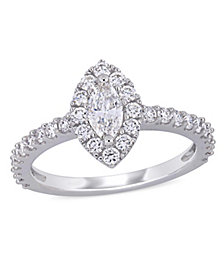 Marquise Certified Diamond (1 ct. t.w.) Halo Engagement Ring in 14k White Gold