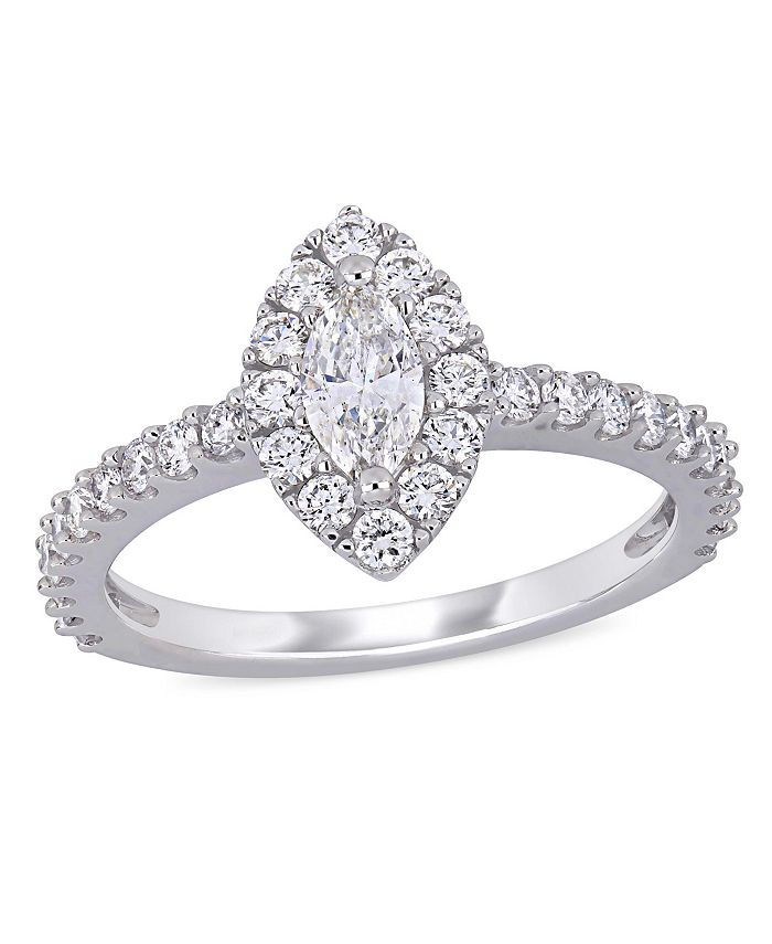 Macy's - Marquise Diamond (1 ct. t.w.) Halo Engagement Ring in 14k White Gold