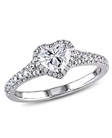 Certified Diamond (1 ct. t.w.) Halo Heart Engagement Ring in 14k White Gold