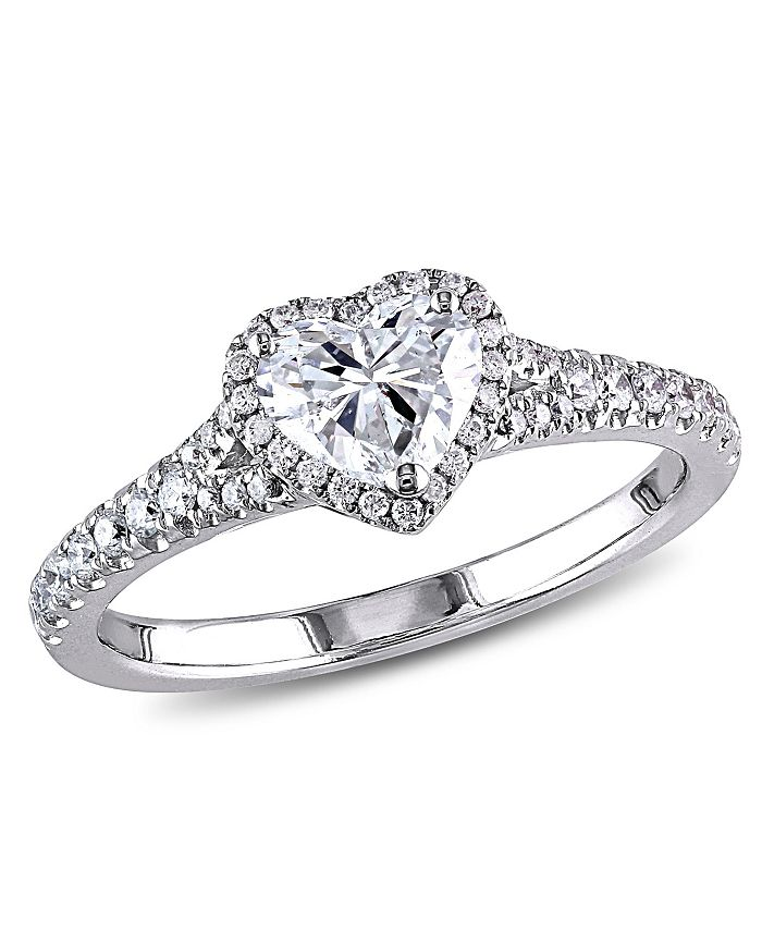 Macy's - Diamond (1 ct. t.w.) Halo Heart Engagement Ring in 14k White Gold