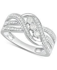 Diamond Three-Stone Overlap Statement Ring (1/4 ct. t.w.) in Sterling Silver