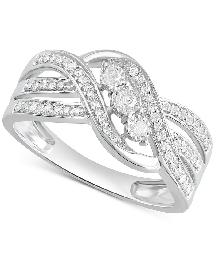 Macy's - Diamond Three-Stone Overlap Statement Ring (1/4 ct. t.w.) in Sterling Silver