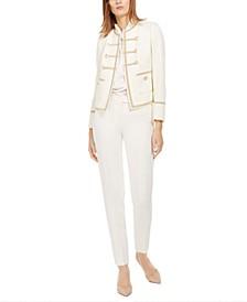 Tweed Military Jacket, Twist-Collar Sleeveless Top & Straight-Leg Pants