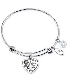 Marcasite Heart & Crystal Sister Charm Bangle Bracelet in Stainless Steel