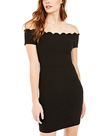 Juniors' Scalloped Off-Shoulder Dress