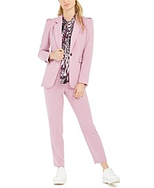 One-Button Jacket, Printed Tie-Neck Top & Faux-Button Straight-Leg Stretch Pants, Created For Macy's