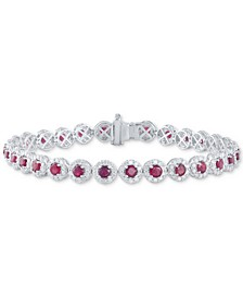Emerald (4-1/4 ct. t.w.) & Diamond (3 ct. t.w) Tennis Bracelet in 14k White Gold (Also in Sapphire and Certified Ruby)