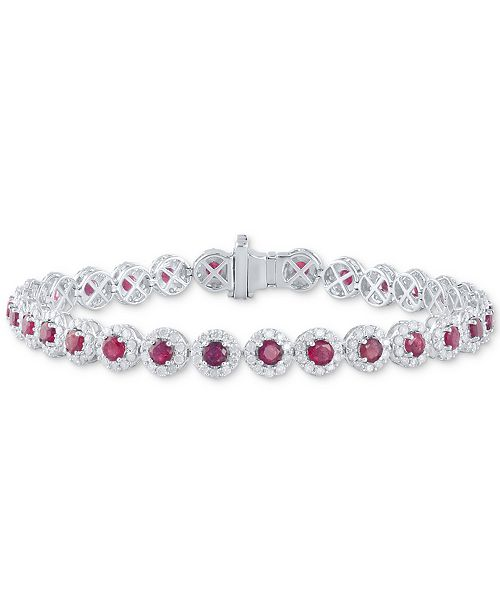 Macy's Certified Ruby (5-1/2 ct. t.w.) & Diamond (3 ct. t.w) Tennis Bracelet in 14k White Gold (Also in Sapphire and Emerald)