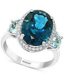 EFFY® Blue Topaz (8 1/6 ct. t.w.) & Diamond (1/6 ct. t.w.) Ring in 14k White Gold