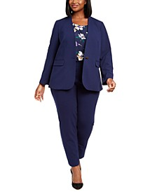 Plus Size Jacket, Sleeveless Printed Top & Straight-Leg Pull-On Pants