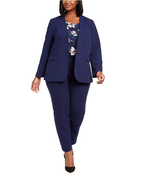 Nine West Plus Size Jacket, Sleeveless Printed Top & Straight-Leg Pull-On Pants