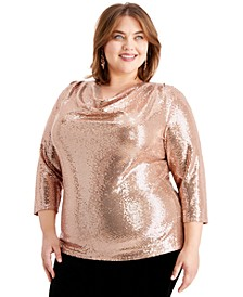 Plus Size Cowlneck Sequinned Top
