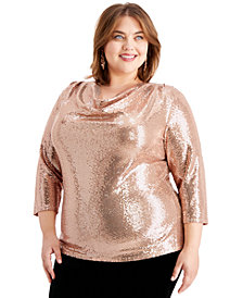 MSK Plus Size Cowlneck Sequinned Top