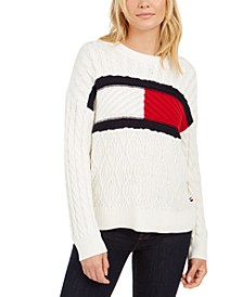Cable-Knit Flag Logo Sweater