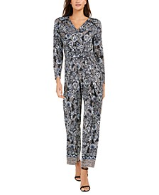 Petite Button-Trim Printed Jumpsuit