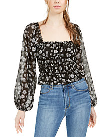 LEYDEN Daisy Floral Print Cropped Top