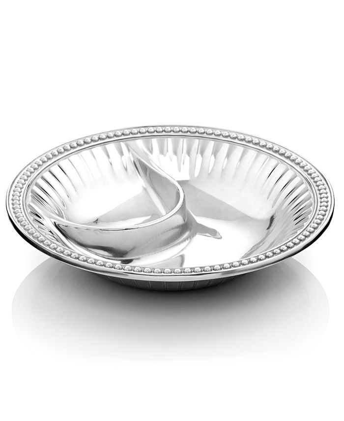 """Wilton Armetale - """"Flutes and Pearls"""" Chip & Dip Bowl"""