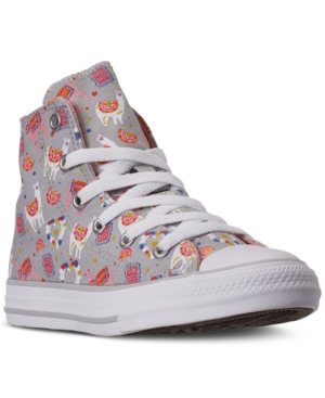 Converse LITTLE GIRLS CHUCK TAYLOR ALL STAR LLAMA PARTY HIGH TOP CASUAL SNEAKERS FROM FINISH LINE