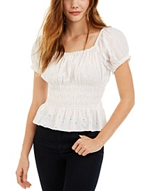 Juniors' Smocked Puff-Sleeve Eyelet Top
