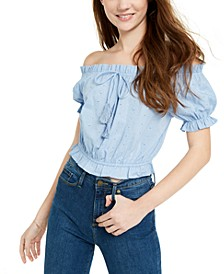 Juniors' Off-The-Shoulder Eyelet Top