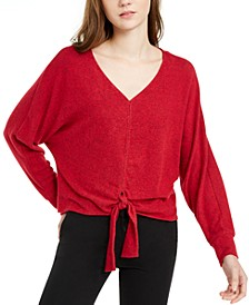 Juniors' Textured Tie-Front Sweater