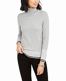Striped-Hem Button-Sleeve Turtleneck Sweater