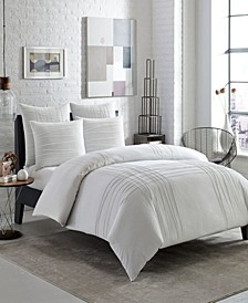 Variegated Pleats King Duvet Cover Set