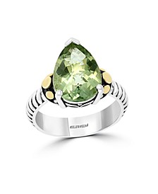 EFFY® Green Amethyst (4-1/10 ct. t.w.) Black Spinel Ring in 18k Yellow Gold and Sterling Silver