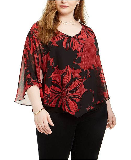 Connected Plus Size Printed Chiffon Cape Top