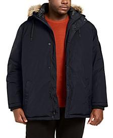 Men's Big & Tall Alternative Down Parka Jacket with Faux Fur Hood