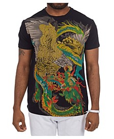 3D Graphic Printed Flying Eagle Colorful Rhinestone Studded T-Shirt