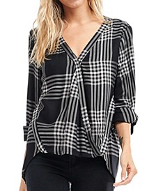 Wrap Front Plaid Top