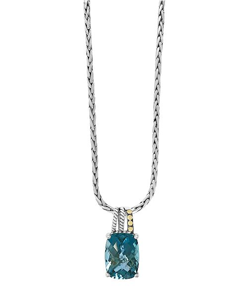 EFFY Collection EFFY® Blue Topaz Pendant (1-1/2 ct. t.w.) in 18k Yellow Gold Accents and Sterling Silver