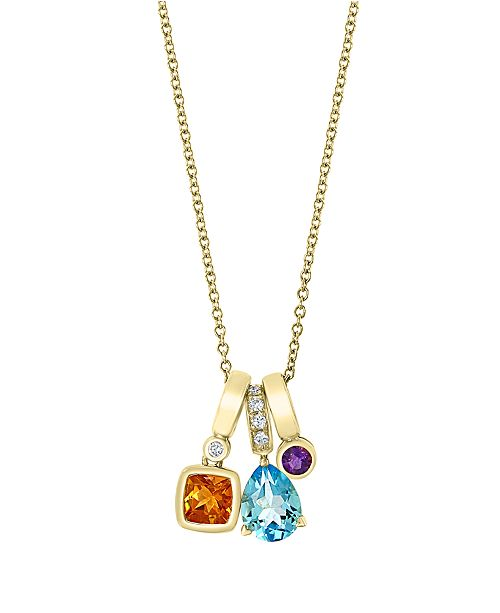 EFFY Collection EFFY Multi Gemstone (1 7/8 ct.t.w.) with Diamond Accent Pendant in 14K Yellow Gold