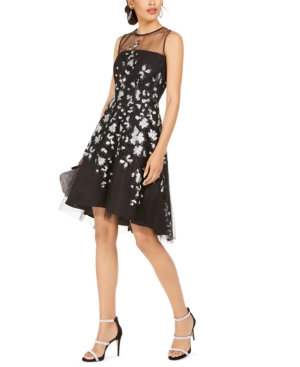 Tahari Asl  SEQUINED-FLOWER ILLUSION DRESS