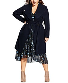Trendy Plus Size Belted Coat