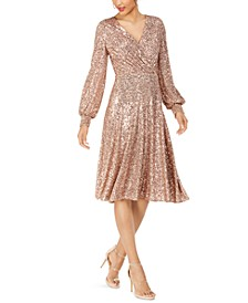 Surplice Sequined Dress