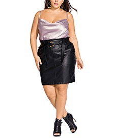 Trendy Plus Size Belted Faux-Leather Pencil Skirt
