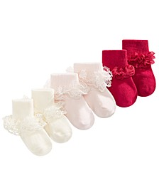 Baby Girls 3-Pack Lace Anklet Socks, Created For Macy's