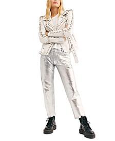Maggie Cotton Raw-Hem Metallic Jeans